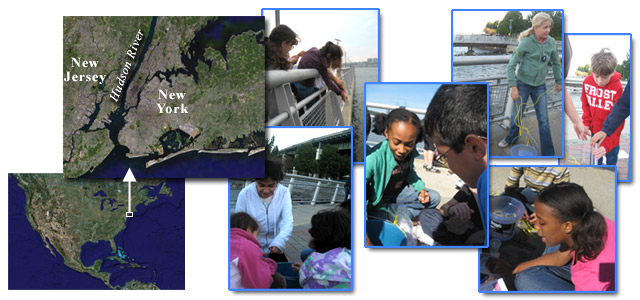 map of Hudson River and photos of the students taking water samples